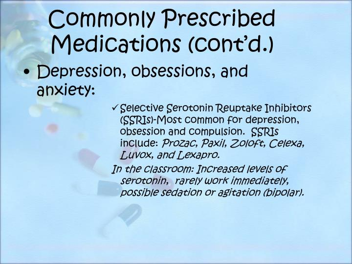 Commonly Prescribed Medications (cont'd.)