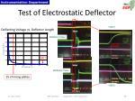 test of electrostatic deflector