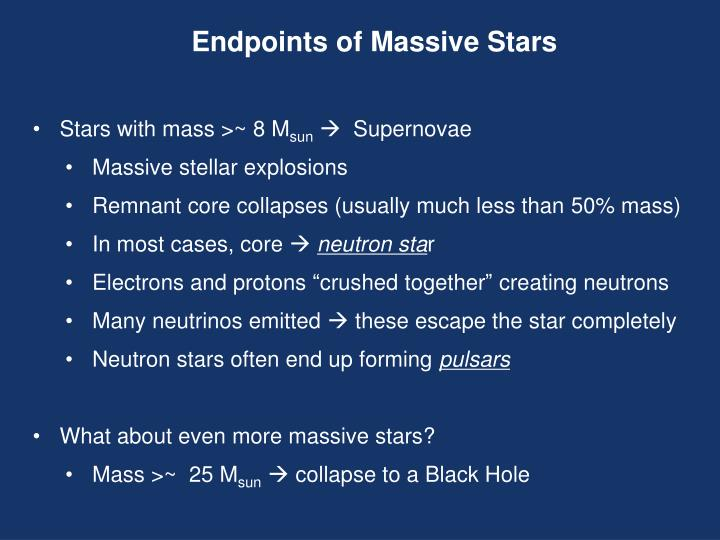 Endpoints of Massive Stars