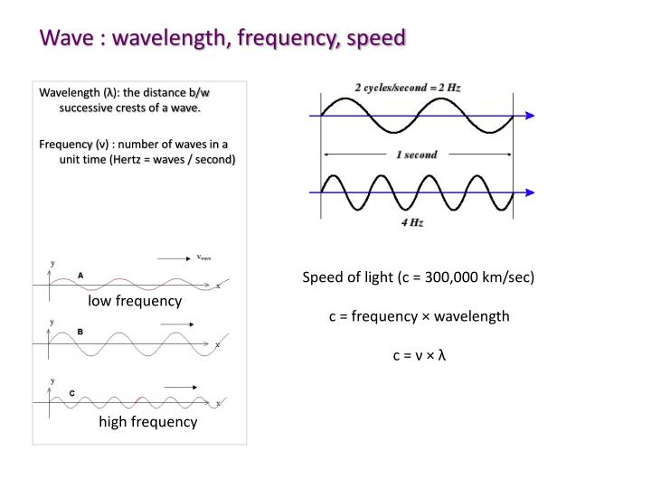 Wave : wavelength, frequency, speed