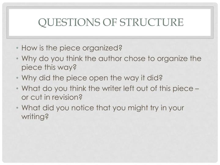 questions of structure