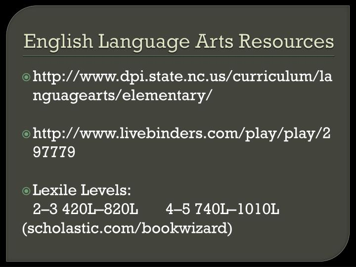 English Language Arts Resources