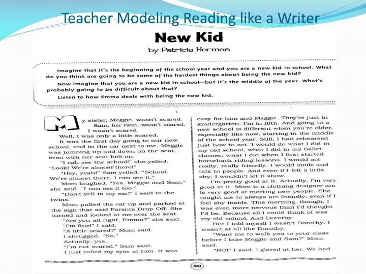 Teacher Modeling Reading like a Writer