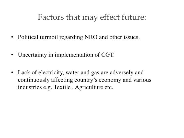 Factors that may effect future: