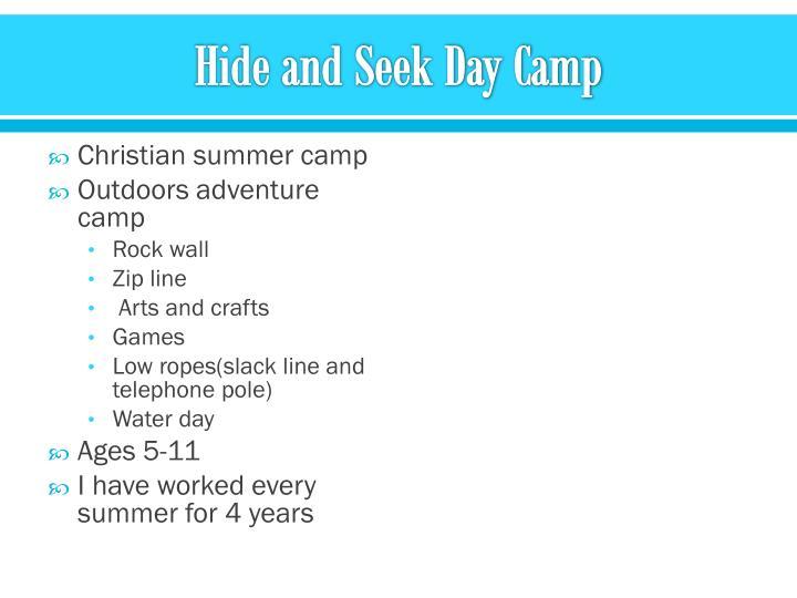 Hide and Seek Day Camp