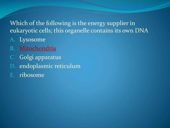 Which of the following is the energy supplier in eukaryotic cells; this organelle contains its own DNA