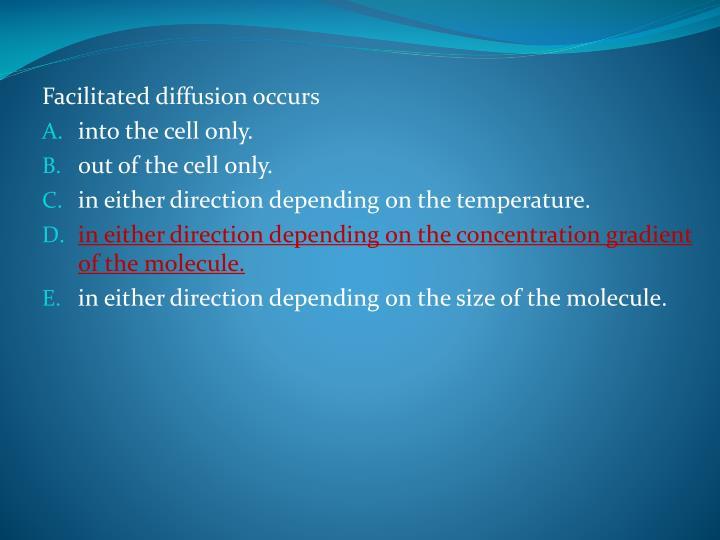 Facilitated diffusion occurs