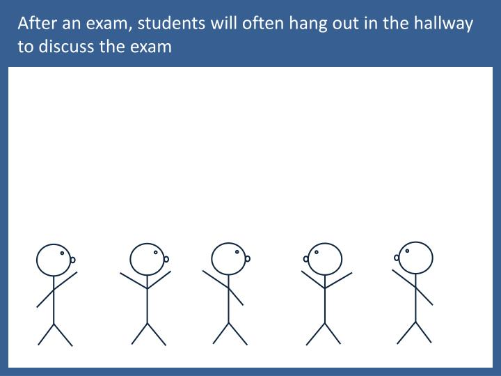 After an exam, students will often hang out in the hallway to discuss the exam