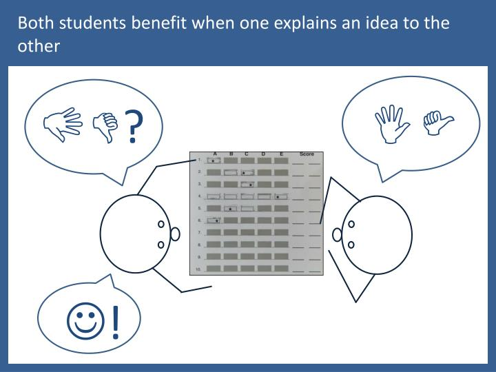 Both students benefit when one explains an idea to the other