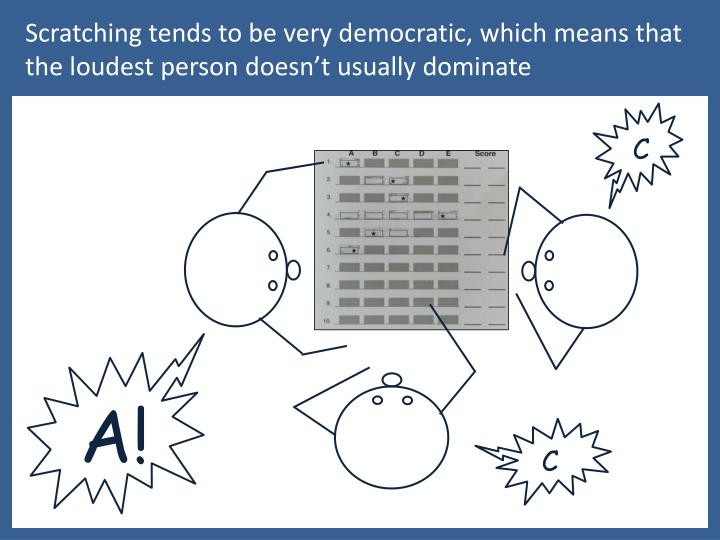 Scratching tends to be very democratic, which means that  the loudest person doesn't usually dominate