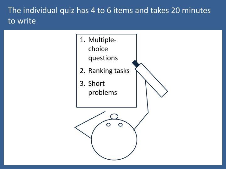The individual quiz has