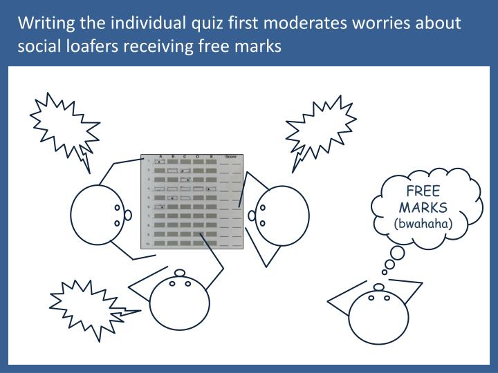 Writing the individual quiz first moderates worries about social loafers receiving free marks