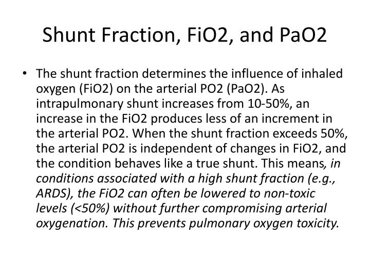 Shunt Fraction, FiO2, and PaO2