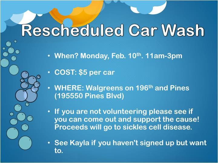 Rescheduled Car Wash