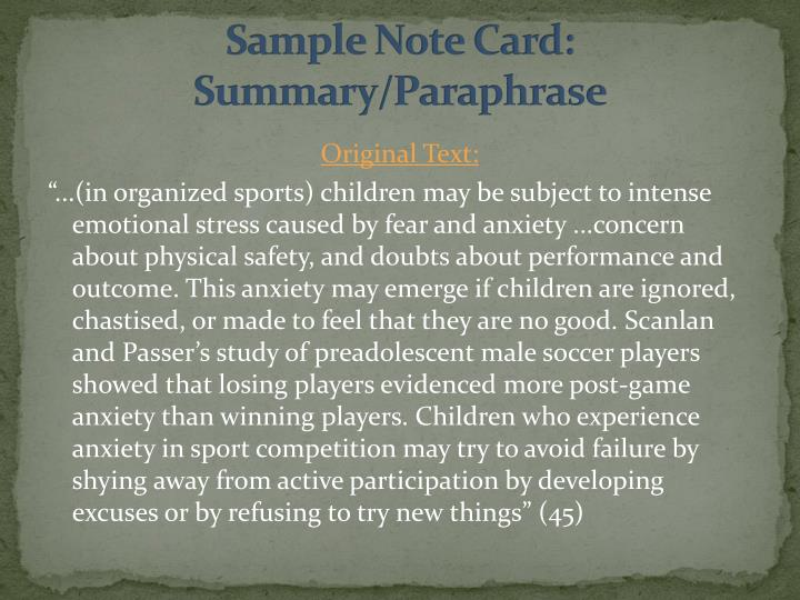 Sample Note Card:  Summary/Paraphrase