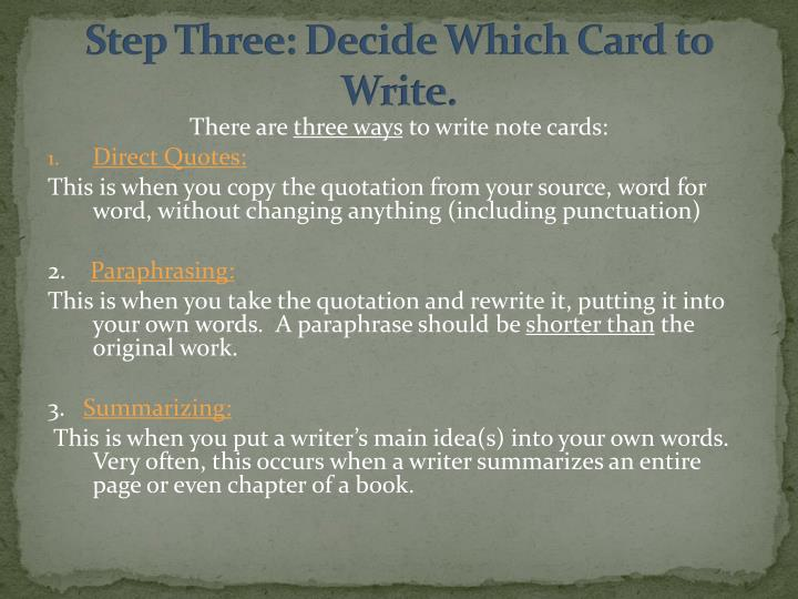Step Three: Decide Which Card to Write.