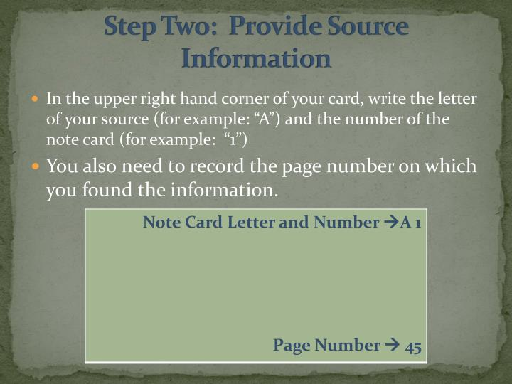 Step Two:  Provide Source Information