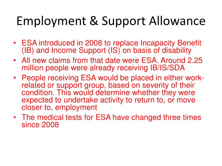 Employment support allowance
