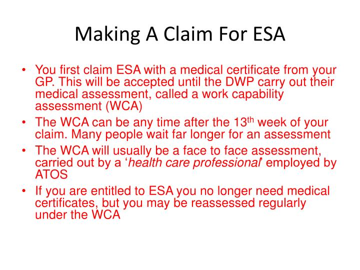 Making a claim for esa