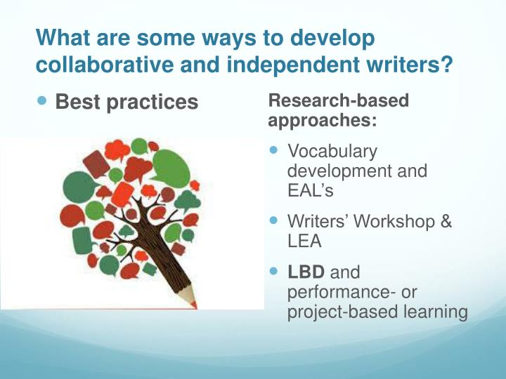What are some ways to develop collaborative and independent writers