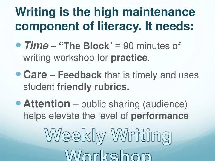 Writing is the high maintenance component of literacy. It needs: