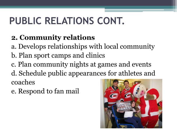 PUBLIC RELATIONS CONT.