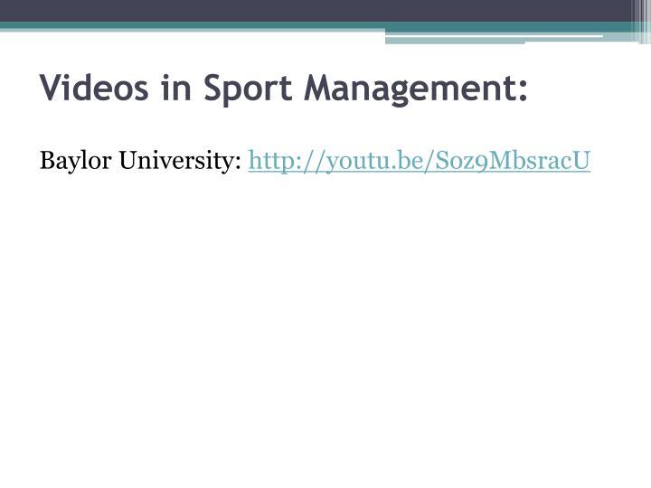 Videos in Sport Management: