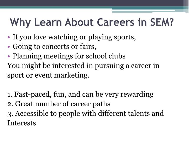 Why Learn About Careers in SEM?
