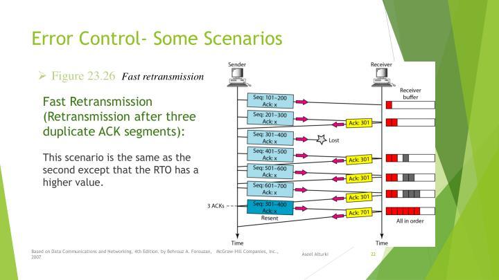Error Control- Some Scenarios