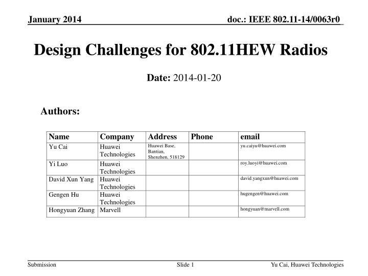 Design challenges for 802 11hew radios
