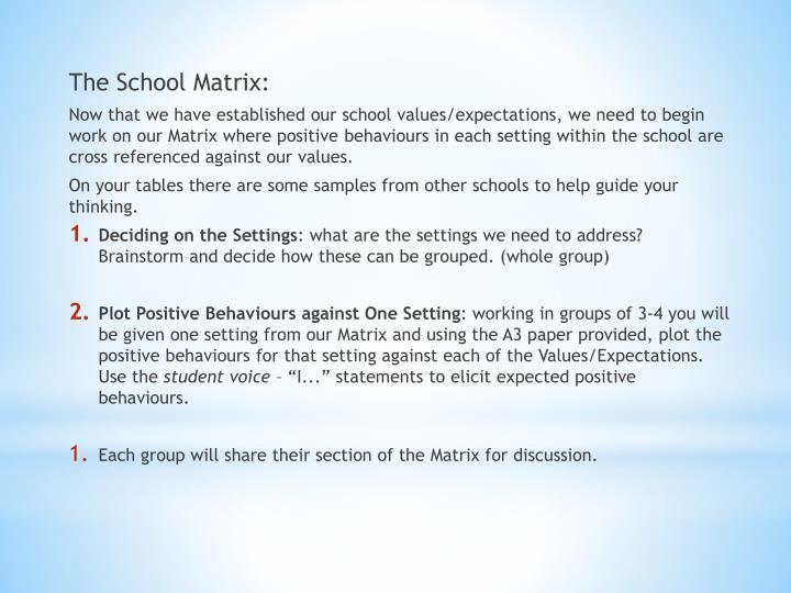 The School Matrix: