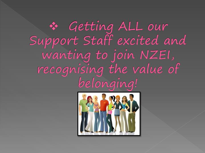 Getting ALL our Support Staff excited and wanting to join NZEI, recognising the value of belonging!