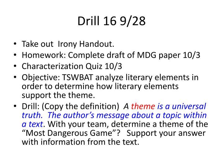 Drill 16 9/28