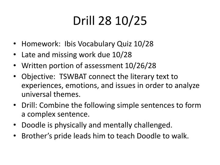 Drill 28 10/25