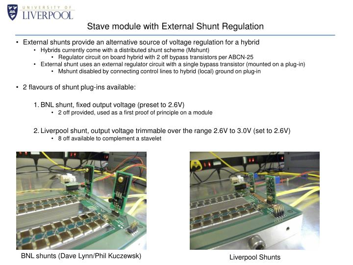 stave module with external shunt regulation