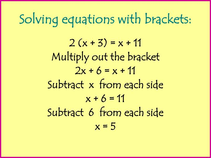 Solving equations with brackets:
