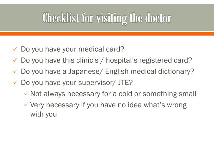 Checklist for visiting the doctor