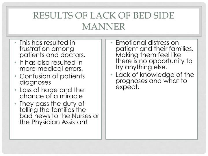 Results of Lack of Bed Side manner