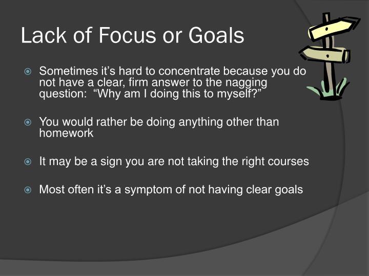 Lack of Focus or Goals