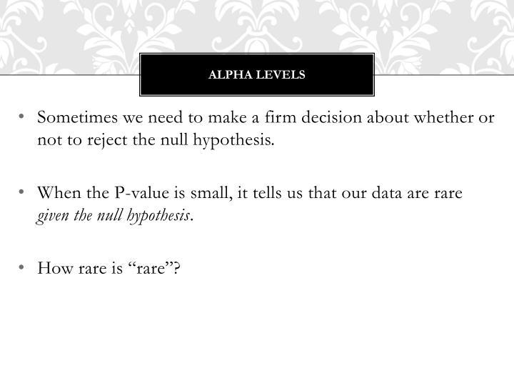 Alpha levels