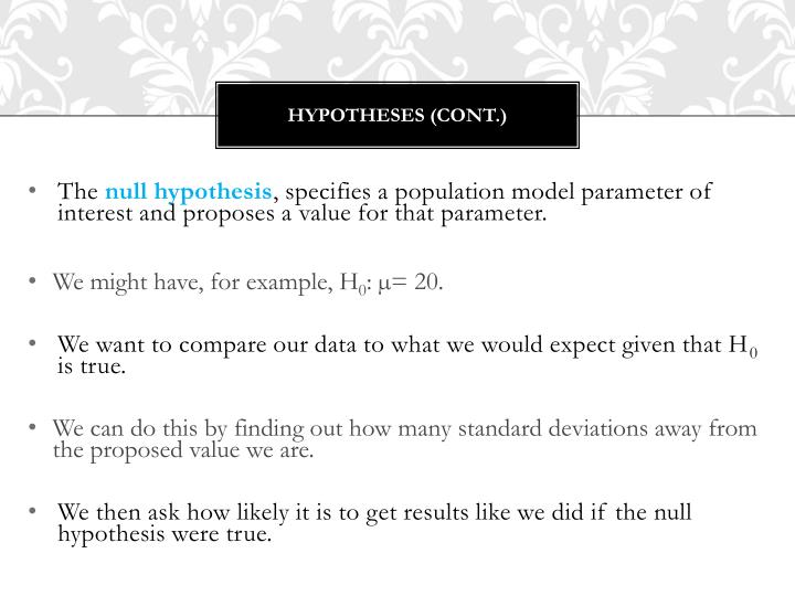 Hypotheses (Cont.)