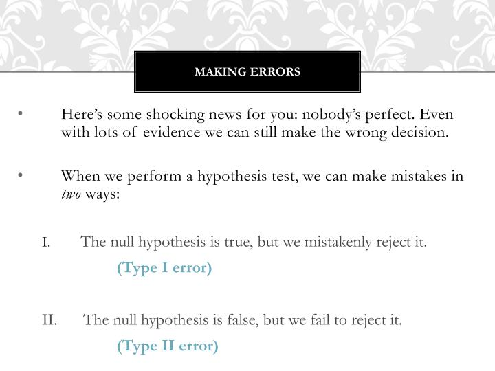 Making Errors