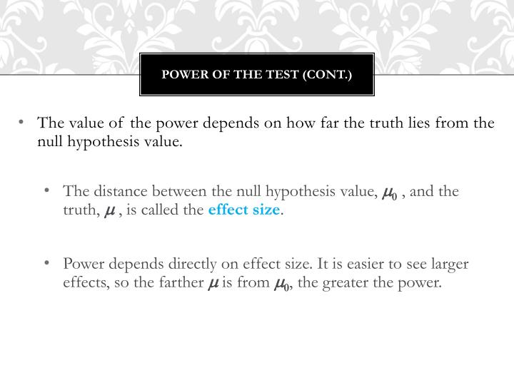 Power of the test (cont.)