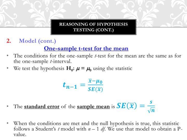 Reasoning of Hypothesis testing (cont.)