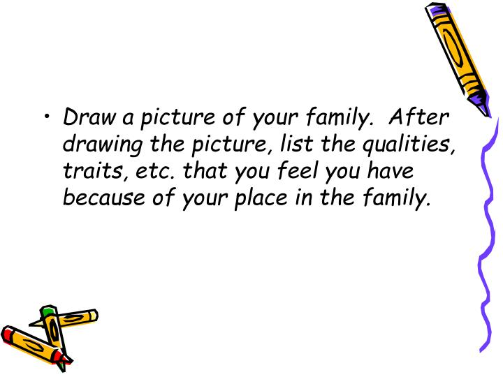 Draw a picture of your family.  After drawing the picture, list the qualities, traits, etc. that you feel you have because of your place in the family.