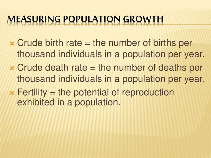 Crude birth rate = the number of births per thousand individuals in a population per year.