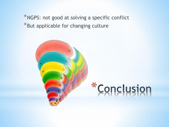 NGPS: not good at solving a specific conflict