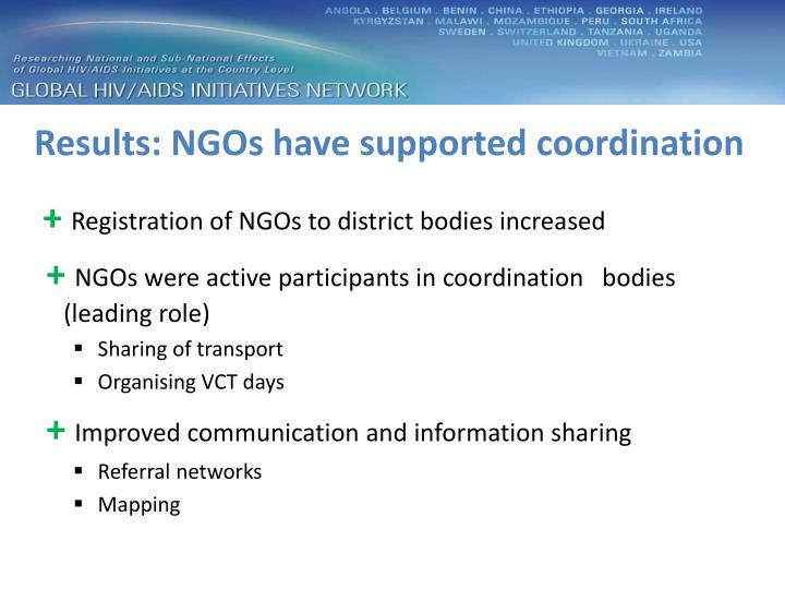 Results: NGOs have supported coordination