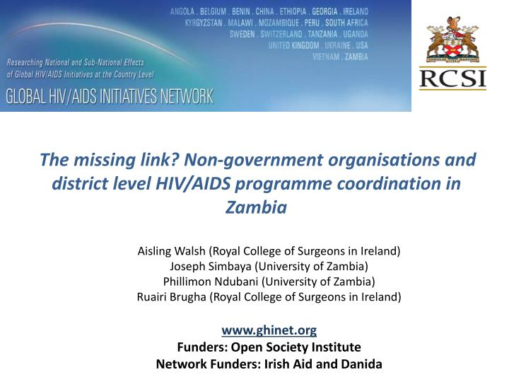 The missing link? Non-government organisations and district level HIV/AIDS programme coordination in Zambia
