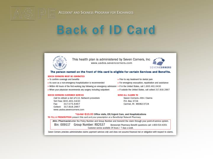 Back of ID Card
